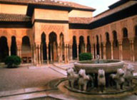 The Court of the Lions, an open space with a fountain surrounded by statues of lions