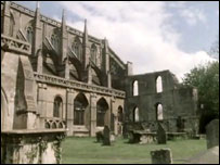 The ruins of Malmesbury Abbey