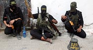 Islamic Jihad fighters in Gaza after returning from the border