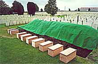 The coffins of nine unidentified British soldiers