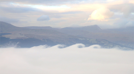 View over Llangors with the Brecon Beacons behind. Image by Will Lewis, Powys.