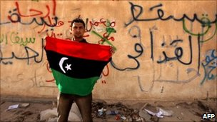 Man holding a Libyan flag next to a wall covered in graffiti