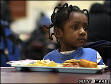 Child in a Detroit soup kitchen