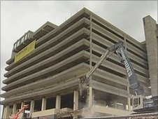 The demolition of a 1960s car park in Gateshead