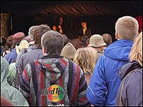 John Hegley on stage at Latitude