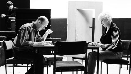 A rehearsal scene from The Devil Inside Him. Courtesy of National Theatre Wales.