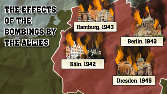 The effects of the bombings by the Allies.