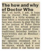 The letters page from 'Radio Times' about Doctor Who's midweek timeslot.