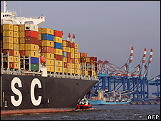 Container ship in Bremerhaven, Germany - file pic