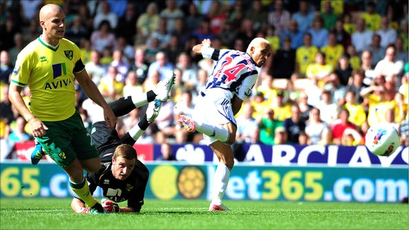 Peter Odemwingie scored for West Brom against Norwich