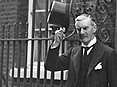 The British Prime Minister Neville Chamberlain leaves No. 10 Downing Street. © Getty.