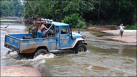 Jeep crossing the ford at Juan Gugeiro's ranch