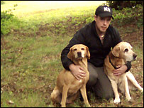 Ryan O'Meara with his dogs