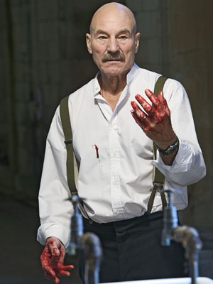 Sir Patrick Stewart and Macbeth, with blood on his hands
