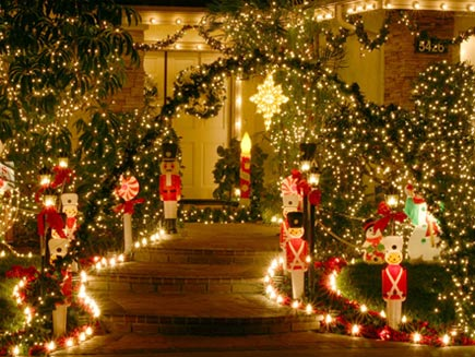 House covered in fairy lights