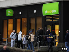 People going into job centre