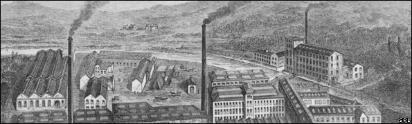 Engraving of an aerial view of Clarks Anchor Thread Works at Paisley near Glasgow, Britain, during the 1880s