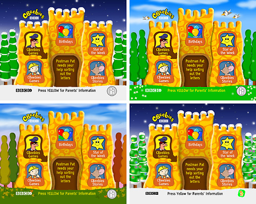 Different versions of the CBeebies homepage on Sky