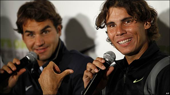 Roger Federer and Rafael Nadal share a joke