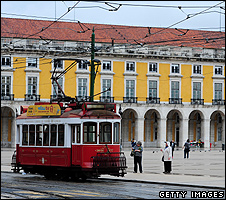Lisbon scene with tram - file pic