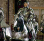 Henry VIII's suits of armour on display at the Tower of London.