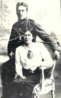 Thomas Edward Richards in his uniform with his first wife Catherine Morgan taken sometime during WW1