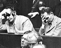 Photograph showing Goering and Hess during the Nuremberg war trials