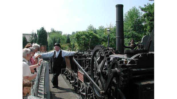 Replica of the World's First Steam Railway Locomotive, built in Coalbrookdale. Copyright Ironbridge Gorge Museum Trust