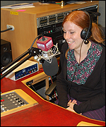 Louise in the BBC studio
