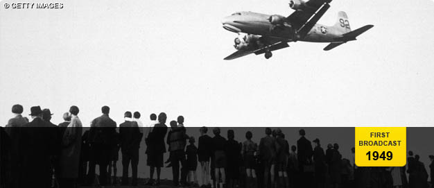 A supply plane arrives during the Berlin airlift.