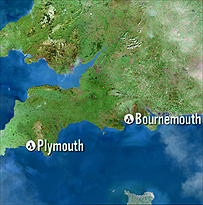 Map showing Bournemouth to Plymouth