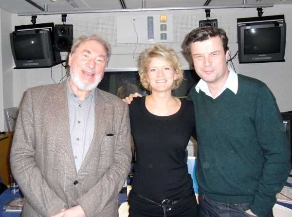 Picture of HK Gruber and broadcaster Daniele Zimper in the ORF Studios in Vienna with Petroc