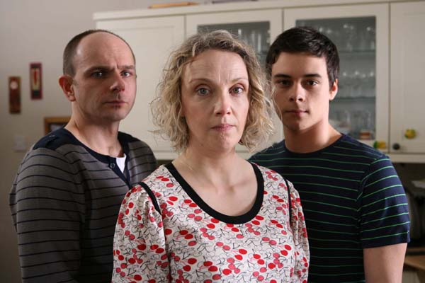 Jack Deam as Lee, Naomi Radcliffe as Kirsty and Adam Long as Sam in Moving On: Letting Go