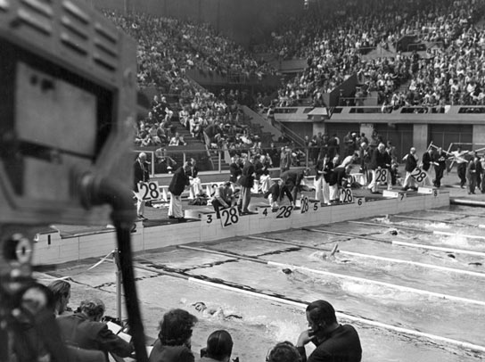 The men's 1,500m free style final at the 1948 Olympic Games.