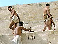 A reconstruction of men labouring in the quarry close to the Great Pyramid