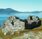 A Viking church, now in ruins, in Greenland. When Vikings gave up their old gods most became Christians.