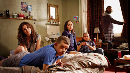 (L-R) Sarah Solemani as Becky, Russell Tovey as Steve, Kerry Howard as Laura, Ricky Champ as Paul and Joe Wilkinson as Dan
