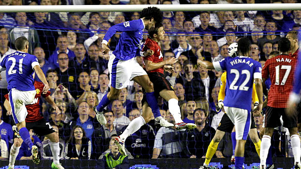 Marouane Fellaini rises highest to score the winner for Everton on Monday night