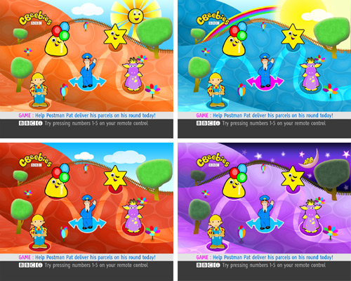 Different versions of the CBeebies homepage on Sky in 2007