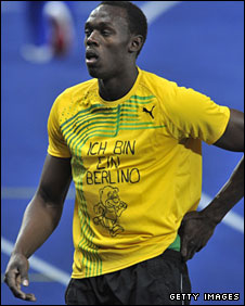 Bolt wears his Berlino teeshirt