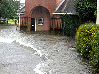 Flood water outside Harry Dunlop's stables
