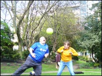 Andy and Kate play football