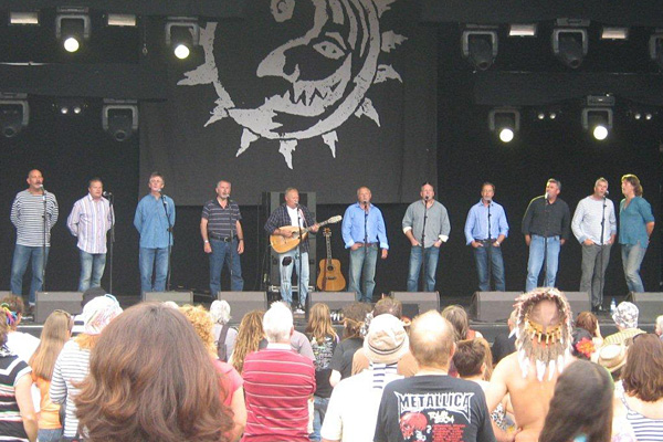 Fisherman's Friends on stage at the Beautiful Days festival