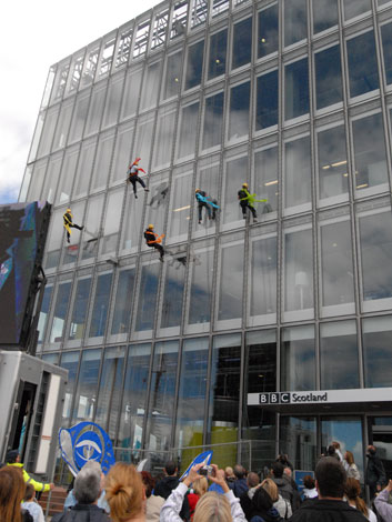 Abseilers on BBC Scotland's Pacific Quay building
