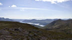 View from the rocky top of Beinn nan Aighenan on a partly-cloudy day.