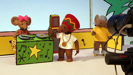 Rastamouse characters on set: Scratchy, Rastamouse and Zoomer