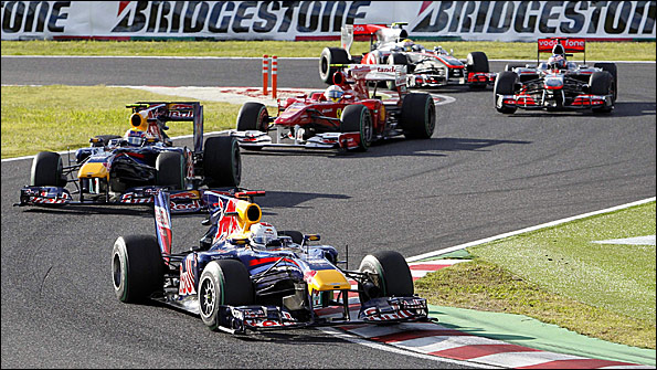 The five title contenders line astern at the Japanese Grand Prix