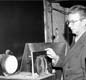 Baird demonstrating his latest colour televisor, 17 December 1942.