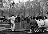 The British Olympic gymnastics team practising