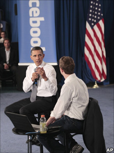 US President Barack Obama and Facebook founder Mark Zuckerberg at a town hall event at Facebook headquarters, Silicon Valley